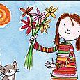 Girl & Flowers Card