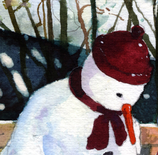 Alan Mark - Snowman in the Garden - CROP